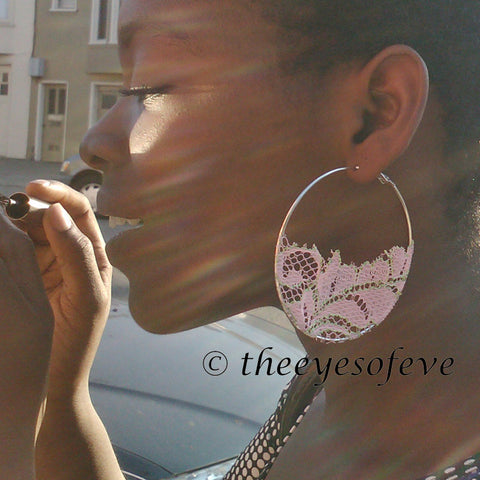 Pink (With Green Accents) on Silver Colored Hoop Earrings