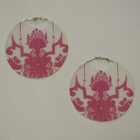 Pink Mandala Silk Hoop Earrings