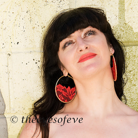 Red Lace Half on Silver Colored Hoop