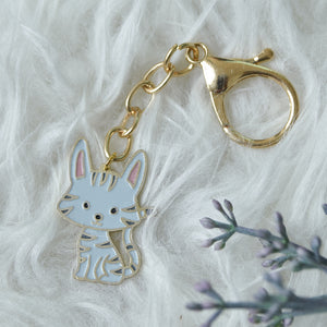 Keychain Enamel Cat Grey