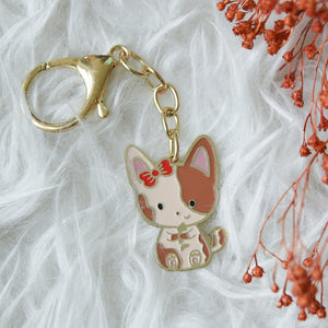 Keychain Enamel Cat Fish Bone