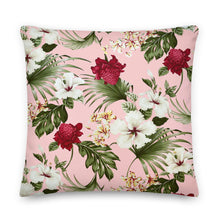 Load image into Gallery viewer, Beautiful Pink Tropical Floral Premium Pillow