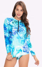 Load image into Gallery viewer, Ocean Blue 2-piece Zipper Front Long Sleeve Rash Guard