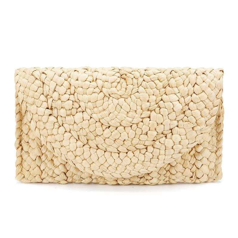 Eco Friendly Hand Woven Straw Clutch Handbag