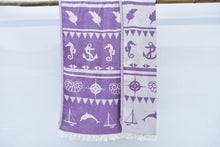Load image into Gallery viewer, Organic Cotton Anchor Seaside Beach Towel