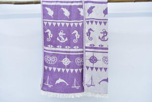 Organic Cotton Anchor Seaside Beach Towel