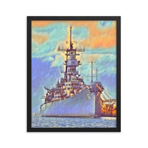 USS Missouri (BB-63) Battleship Framed poster