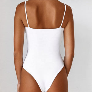 White Front Cut One-Piece Swimsuit