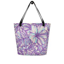 Load image into Gallery viewer, Lavender Hibiscus Beach Bag