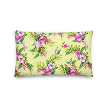 Load image into Gallery viewer, Tropical Yellow  Floral Premium Pillow