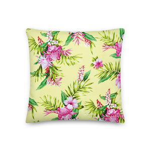 Tropical Yellow  Floral Premium Pillow