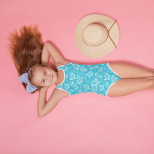 Load image into Gallery viewer, Hawaiian Teal All-Over Print Kids Swimsuit