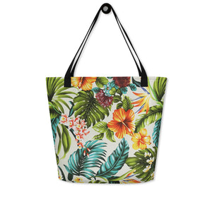 "Hawaiian Print ""Beach Time"" Beach Bag - Anchor Designs Hawaii"