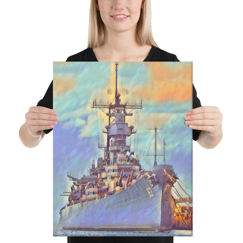 USS Missouri (BB-63) Battleship Canvas - Anchor Designs Hawaii