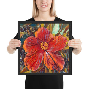 Red Hibiscus Hawaii State Flower Framed poster