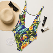 Load image into Gallery viewer, Blue Tropical One-Piece Swimsuit