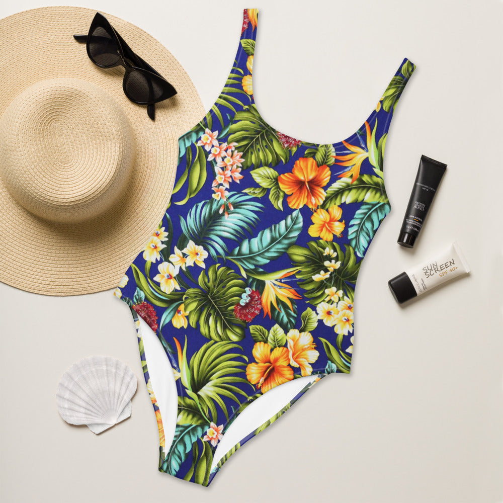 Blue Tropical One-Piece Swimsuit