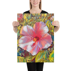 Pink Hibiscus Hawaii State Flower Canvas