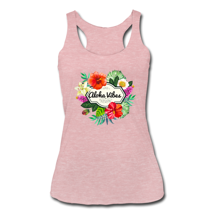 Women's Tri-Blend Racerback Aloha Vibes Tank - heather dusty rose