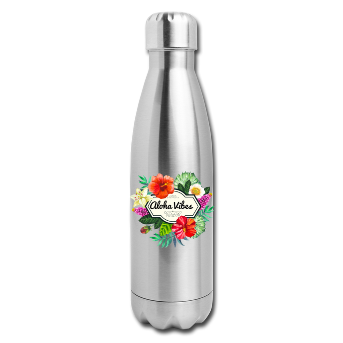 Insulated Stainless Steel Aloha Vibes Water Bottle - silver