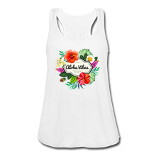 Load image into Gallery viewer, Women's Flowy Aloha Vibes Tank Top by Bella - white