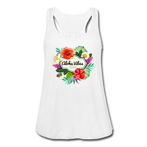Women's Flowy Aloha Vibes Tank Top by Bella - white