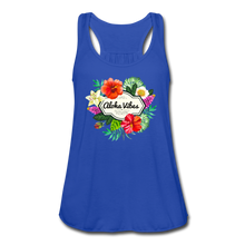 Load image into Gallery viewer, Women's Flowy Aloha Vibes Tank Top by Bella - royal blue