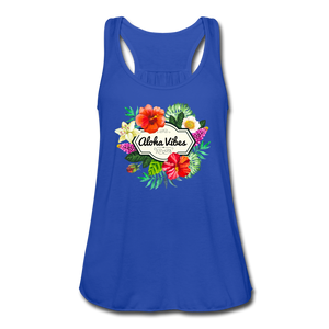 Women's Flowy Aloha Vibes Tank Top by Bella - royal blue