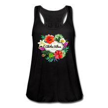 Load image into Gallery viewer, Women's Flowy Aloha Vibes Tank Top by Bella - black