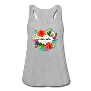 Women's Flowy Aloha Vibes Tank Top by Bella - heather gray