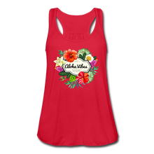 Load image into Gallery viewer, Women's Flowy Aloha Vibes Tank Top by Bella - red