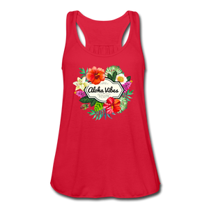 Women's Flowy Aloha Vibes Tank Top by Bella - red