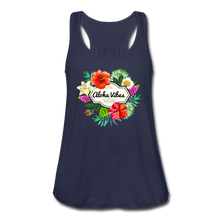 Load image into Gallery viewer, Women's Flowy Aloha Vibes Tank Top by Bella - navy