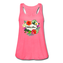 Load image into Gallery viewer, Women's Flowy Aloha Vibes Tank Top by Bella - neon pink