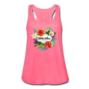 Women's Flowy Aloha Vibes Tank Top by Bella - neon pink