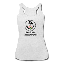 Load image into Gallery viewer, Women's Tri-Blend Racerback Anchor Tank - heather white