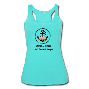 Women's Tri-Blend Racerback Anchor Tank - turquoise