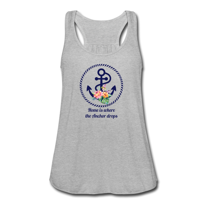 Women's Flowy Anchor Tank Top by Bella - heather gray