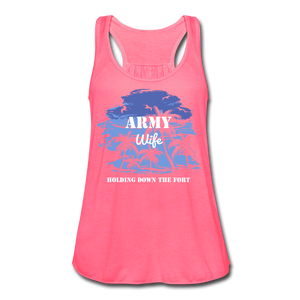 Women's Flowy Army Wife Tank Top by Bella - neon pink