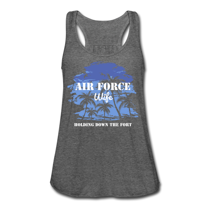 Women's Flowy Air Force Wife Tank Top by Bella - deep heather