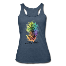 Load image into Gallery viewer, Women's Tri-Blend Racerback Living Aloha Tank - heather navy