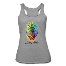 Load image into Gallery viewer, Women's Tri-Blend Racerback Living Aloha Tank - heather gray