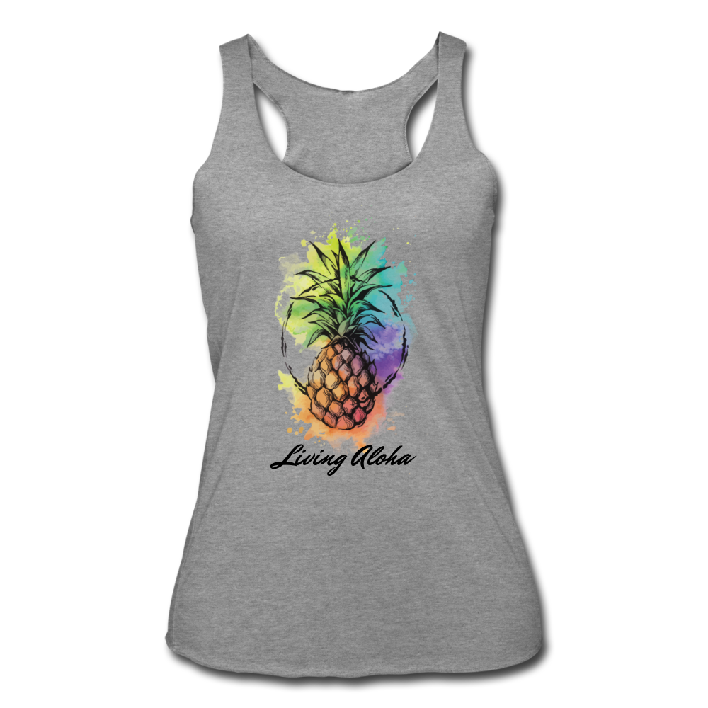 Women's Tri-Blend Racerback Living Aloha Tank - heather gray