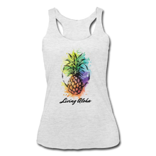 Load image into Gallery viewer, Women's Tri-Blend Racerback Living Aloha Tank - heather white