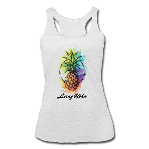 Women's Tri-Blend Racerback Living Aloha Tank - heather white