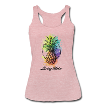 Load image into Gallery viewer, Women's Tri-Blend Racerback Living Aloha Tank - heather dusty rose