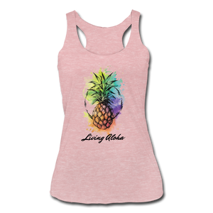 Women's Tri-Blend Racerback Living Aloha Tank - heather dusty rose