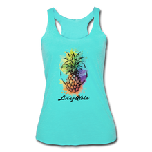 Load image into Gallery viewer, Women's Tri-Blend Racerback Living Aloha Tank - turquoise