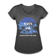 Load image into Gallery viewer, Women's Tri-Blend V-Neck Navy Holding Fort T-Shirt - deep heather