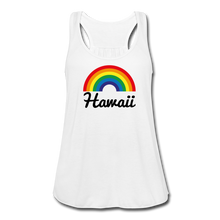 Load image into Gallery viewer, Women's Flowy Rainbow Hawaii Tank Top by Bella - white